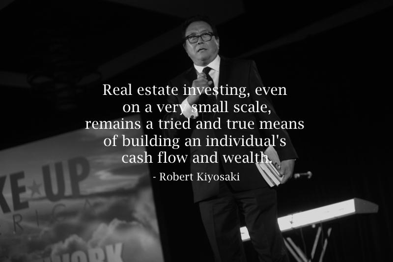 real-estate-investing-to-build-wealth-robert-kiyosaki-quote-bw